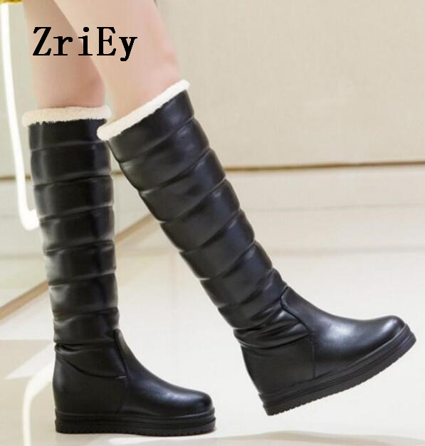 8eb8849ba5cda US $52.5 |zapatos mujer fashion height increasing wedge platform women  pumps shoes woman girls winter knee high snow boots ladies C170234-in  Knee-High ...