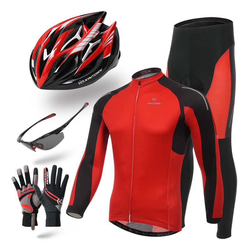 Ropa ciclismo hombre XINTOWN Men Bicycle Wear Gel Padded Red Long Cycling Jerseys Set helmet glasses gloves Bike Clothing xintown men s team cycling jerseys bike wear padded pants ropa ciclismo suit sets clothing antumn green s 4xl