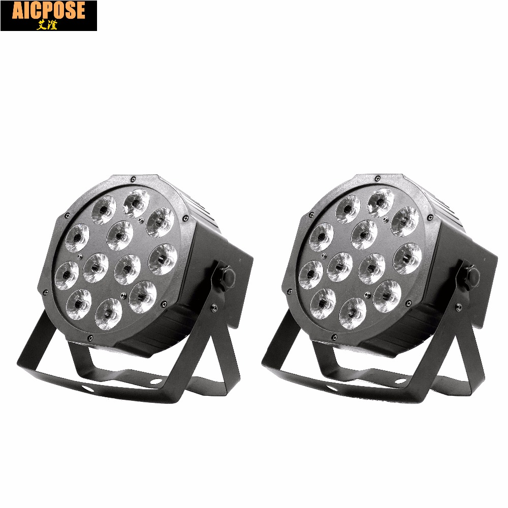 2pcs/lots 12w Led Lamp Beads 12x12W Led Par Lights RGBW 4in1 Flat Par Led Dmx512 Disco Lights Professional Stage Dj Equipment