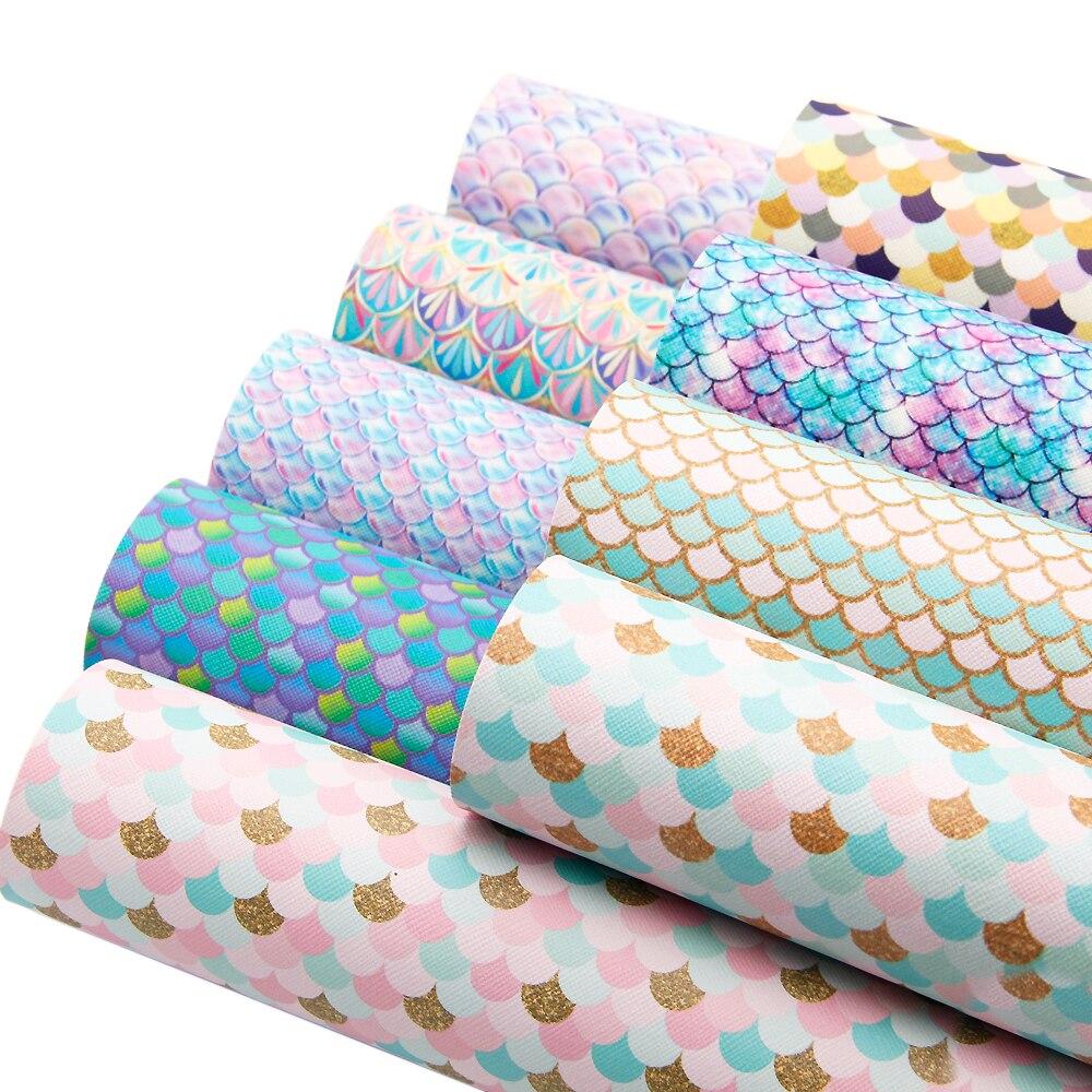 David accessories 20*34 см рыбные весы виниловые искусственная Синтетическая кожа ткань DIY Швейные сумки для одежды узел-бант, 1Yc3521