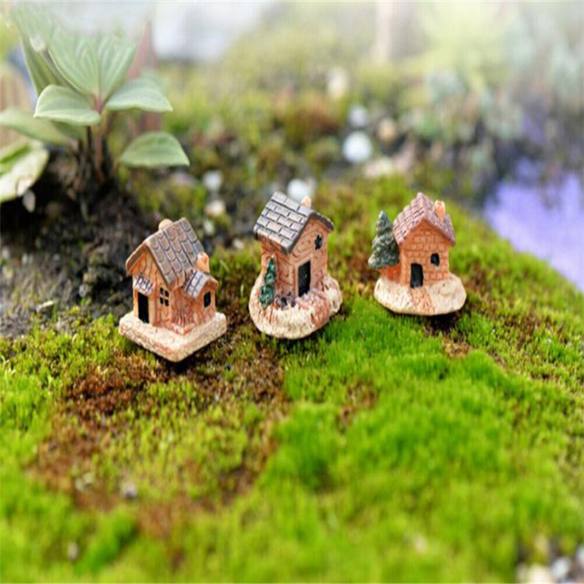 2018 New Mini Dollhouse Stone House Resin Decorations For Home And Garden DIY Mini Craft Cottage Landscape Decoration C0129