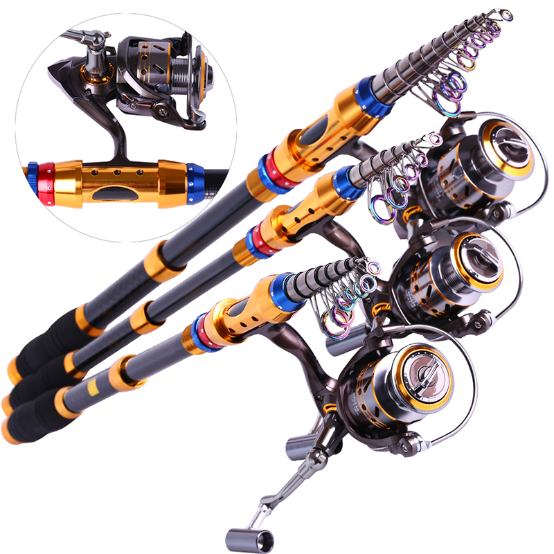 Spinning Telescopic Fishing Rod Set And Carp Fishing Reel 1.8m-3.6m Carbon Fishing Pole Sea Casting Fishing Rods ...