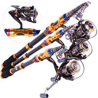 Spinning Telescopic Fishing Rod Set And Carp Fishing Reel 1.8m 3.6m Carbon Fishing Pole Sea Casting Fishing Rods