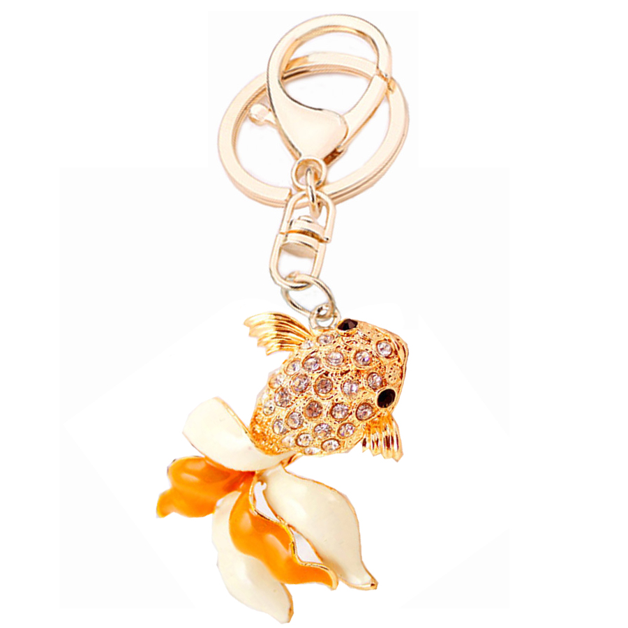 Charm Luxury Rhinestones Fish Keyring Keychain Bag Buckle Key Finder For Car Party Gift Keyfobs Creative Jewelry Lover Gift R050