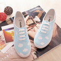 Free Shipping 2016 New Women Harajuku Flat Canvas Shoes Blue Sky Little Cloud Hand-printed Canvas Shoes