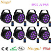 8pcs Lot With Remote Control UV Led Stage Light 36W Ultraviolet Led Par Light Purple LED