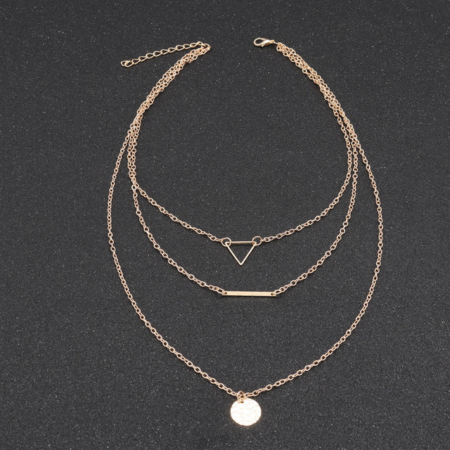 2018 New Trendy Product Jewelry Fashion Street Time Wind Hollow Out Triangle Bar Width Paillette Necklace Christmas Gift