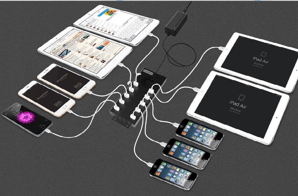 10 USB charging ports to simultaneously charge 7 connected phones, tablets and other mobile devices