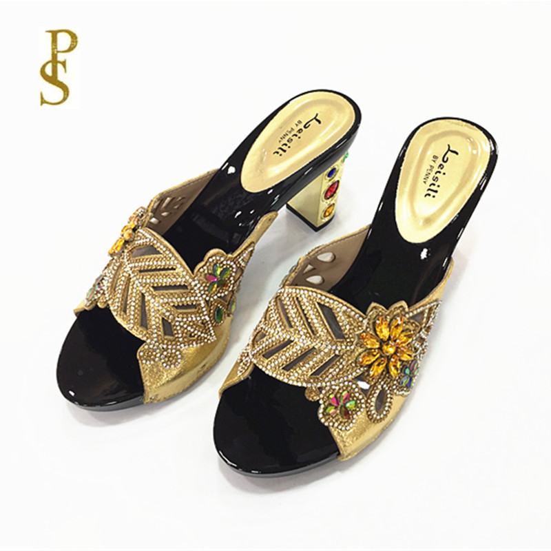 Image 4 - Женская обувь на высоком каблуке, красивая женская обувь со стразами, обувь для вечеринокТапочки   -