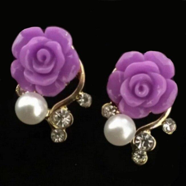 Exquisite Pearls Crystals Rose Stud Earrings Purpl