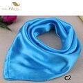 SISHION 2017 Designer Maravilhoso Suave Lenço 60 cm * 60 cm de Cetim Azul bufandas mujer Primavera Verão 2017 Da Marca Do Vintage cachecol SD0007