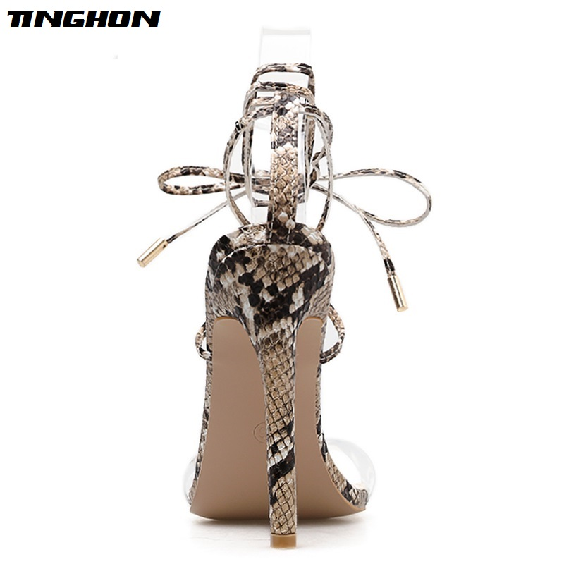 TINGHON Sexy Gladiator Sandals PVC Cross Bandage High Heels Sandals Women Thin Heel Lace Up Summer Shoes Fashion Open Toe Pumps in High Heels from Shoes