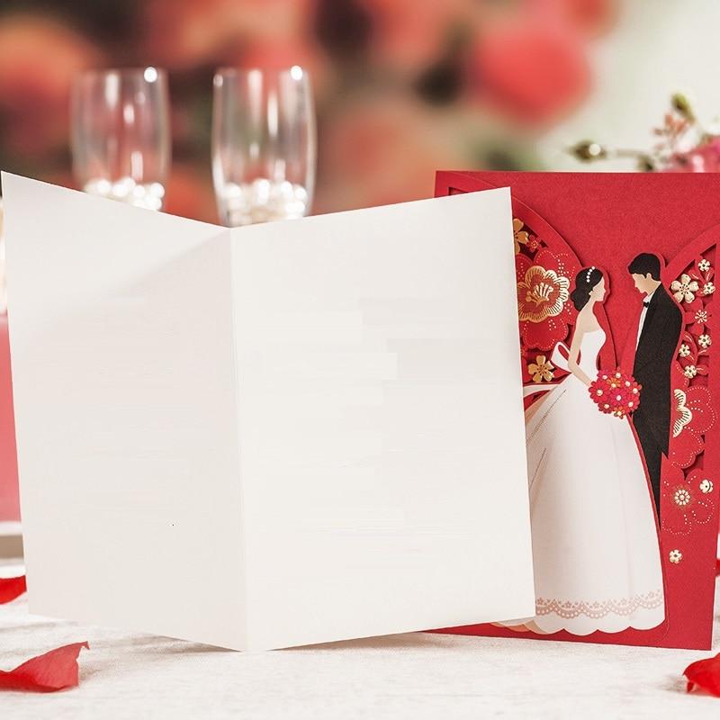 Dekoracje ślubne czerwony Laser Cut zaproszenia ślubne 50 sztuk luksusowy elegancki panna młoda pan młody zaproszenia na ślub 2019 w Kartki i zaproszenia od Dom i ogród na  Grupa 3