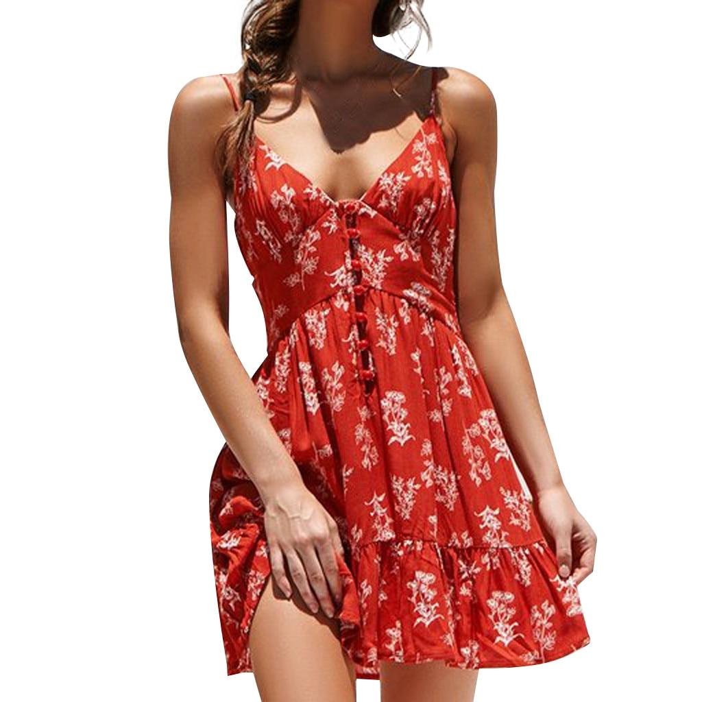Show details for 2019 New Women Sexy Floral Print Mini Dress Short Sleeve Sleeveless Strap Deep V Neck Boho Style Vintage Beach Robe #F