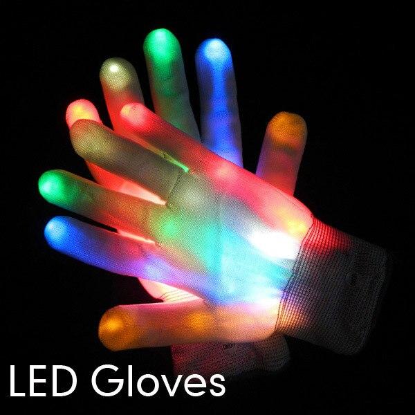 Novelty Club LED Flashing Gloves Colorful Finger Light Pub