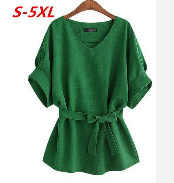 Women Summer New Batwing Sleeve V-Neck Solid Bow Linen Dress Shirt Summer Casual Loose Tops Blouses Shirts Plus Size Tops Shirts