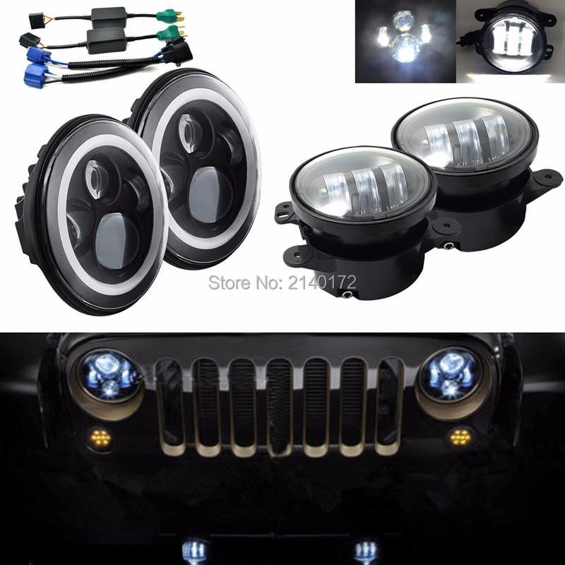 7-дюймовый 40W Водонепроницаемые Hi/Lo луча фары + 4 дюйма 30W светодиодные Противотуманные фары для Jeep Вранглер JK CJ на передний бампер спойлер