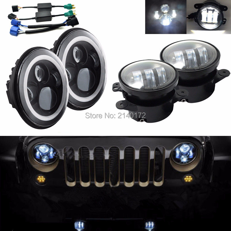 7inch 40W Waterproof Hi/Lo Beam Headlights + 4inch 30W LED Fog Light for Jeep Wrangler JK CJ Front Bumper Lights