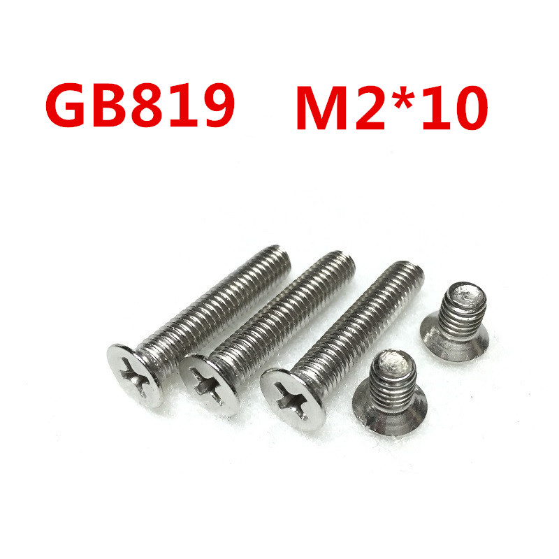 Free Shipping 100pcs/Lot GB819 M2x10 mm M2*10 mm 304 Stainless Steel flat head cross Countersunk head screw
