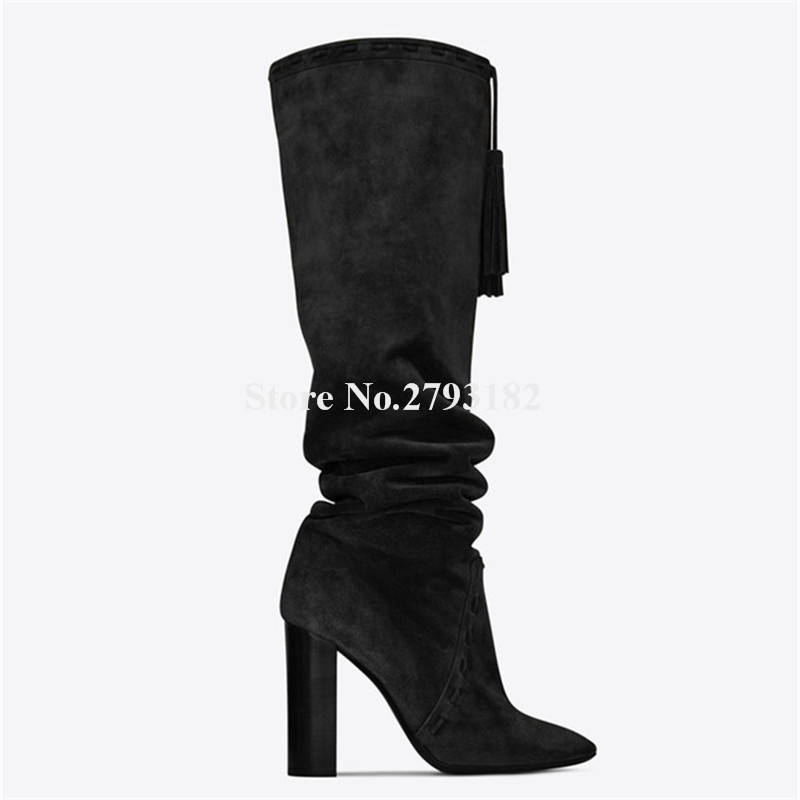 Winter New Fashion Women Pointed Toe Black Brown Suede Leather Chunky Heel Tassels Knee High Boots Pleated Thick Heel Long Boots high quality suede boots women ankle strap chunky heel black brown fleeces buckles pu shoes winter high heel knee high punk shoe