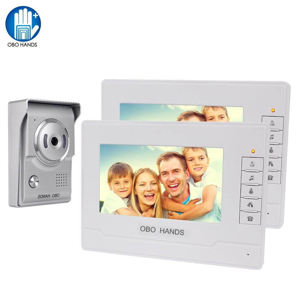Doorphone 7 Inch Color Screen Video Doorbell Door Phone For Home Speakerphone Intercom System With Waterproof Outdoor IR Camera