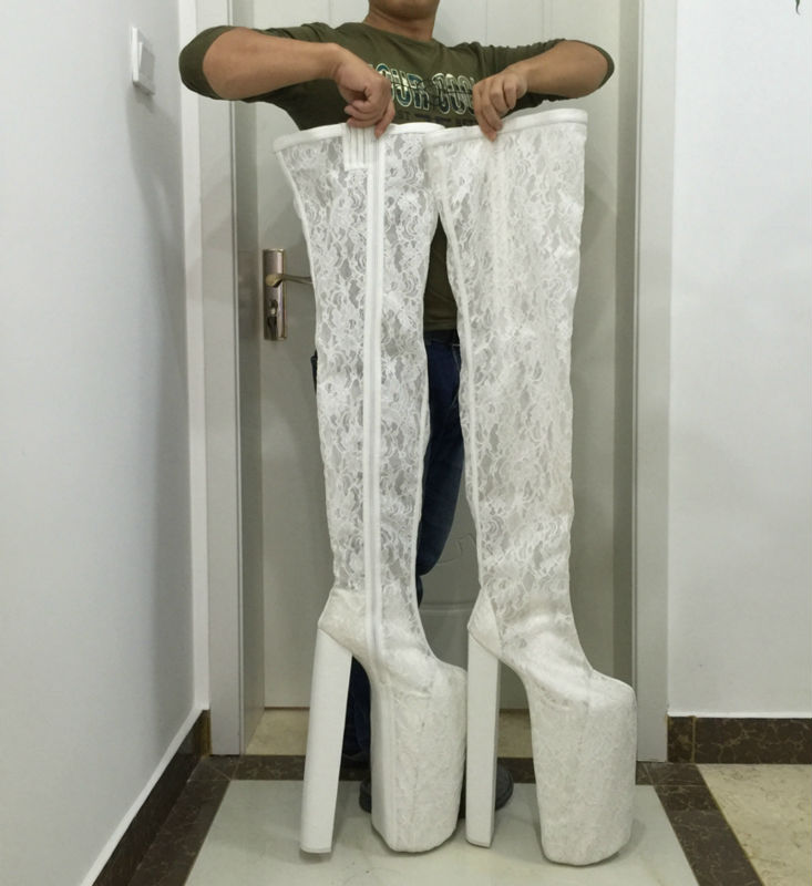 White Lace Thigh High Boots Women Wedding Shoes Long Boots Extram High Heels Botas Mujer For Girls Women Work Boots Size 14