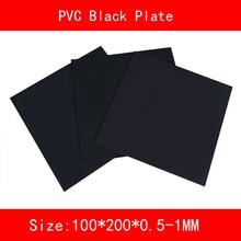 2pcs PVC black Sheet Plastic plate size 100*200mm thickness 0.5mm 1mm
