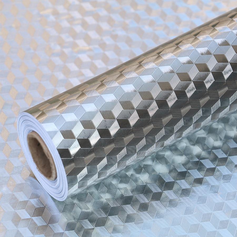 Modern Waterproof Oil-proof Self Adhesive Wallpaper Roll For Kitchen Stove Backsplash Aluminum Foil Sticker Furniture Decor Film