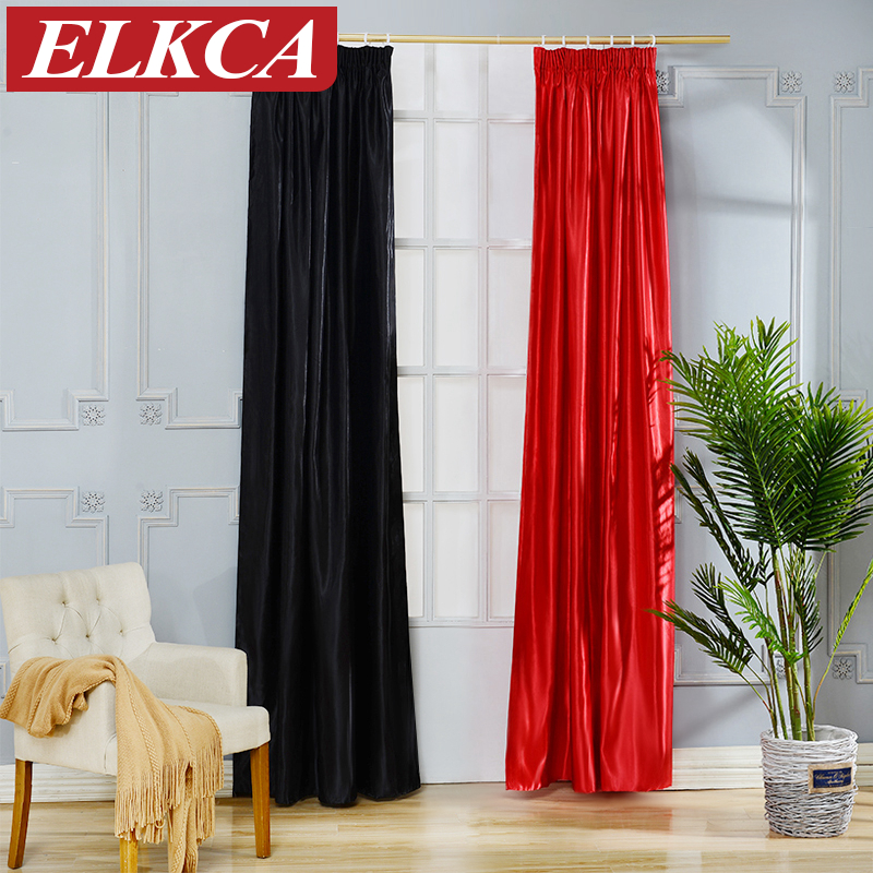 Black Faux Silk Curtains For Living Room Red/Black Window Curtains For The  Bedroom Full