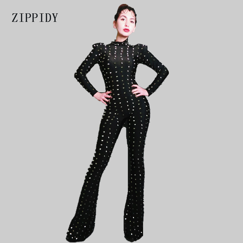 Sexy Black Rivets Bodysuit Stage Dance Outfit Women Bar Dance Jumpsuit Stage Party Dance Costume Performance Rompers