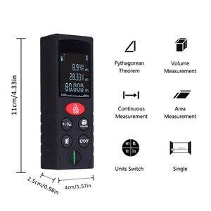Image 2 - 40 100 M Laser Strahl Abstand Meter Digitale Entfernungsmesser Elektronische Maßband Range Finder Trena Signal empfänger Vertikale Blase