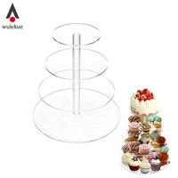 Wulekue 4 Layer Transparent Acrylic Cupcake Stand Party Cake Stand Cup Cake Stand Dessert Snack Rack
