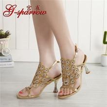 G-sparrow 2018 Summer New Style Women Golden Rhinestone Sequins High Heels Wedding Sandals Princess Shoes 8cm