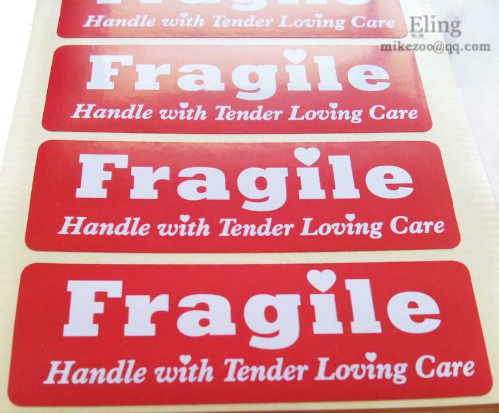 200pcs/lot 76x25mm FRAGILE HANDLE ME WITH TENDER LOVING CARE label sticker for package protection, Item No. SS40, Free shipping