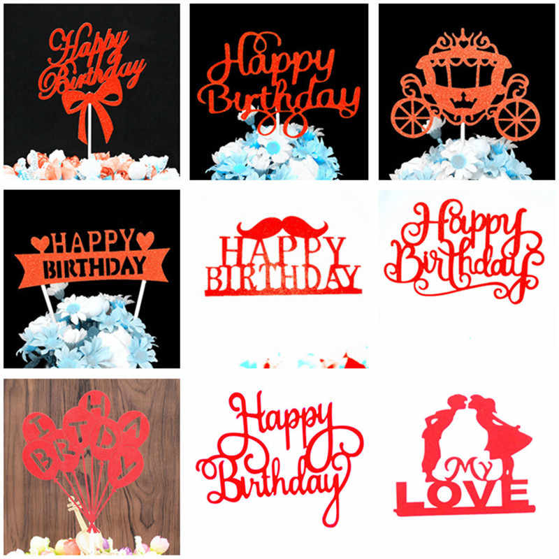 Cake Topper Birthday Party Decorations Cupcake Toppers Decoration Cake Baby Boy Shower Party Favors Supplies Red One Cake Topper