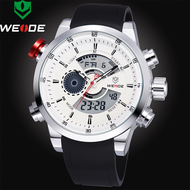 Watches Men 2018 Top Luxury Brand WEIDE Men Sports Waterproof Watch Men's Quartz Analog LED Clock Man Army Military Wrist watch 2018 new luxury brand weide men watches men s quartz hour clock analog digital led watch pu strap fashion man sports wrist watch