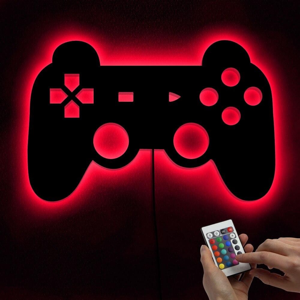 1Piece Gamepad Lighting Sign Retro Video Gamepad Silhouette Wall Art Illuminated LED Night Light Kid Room