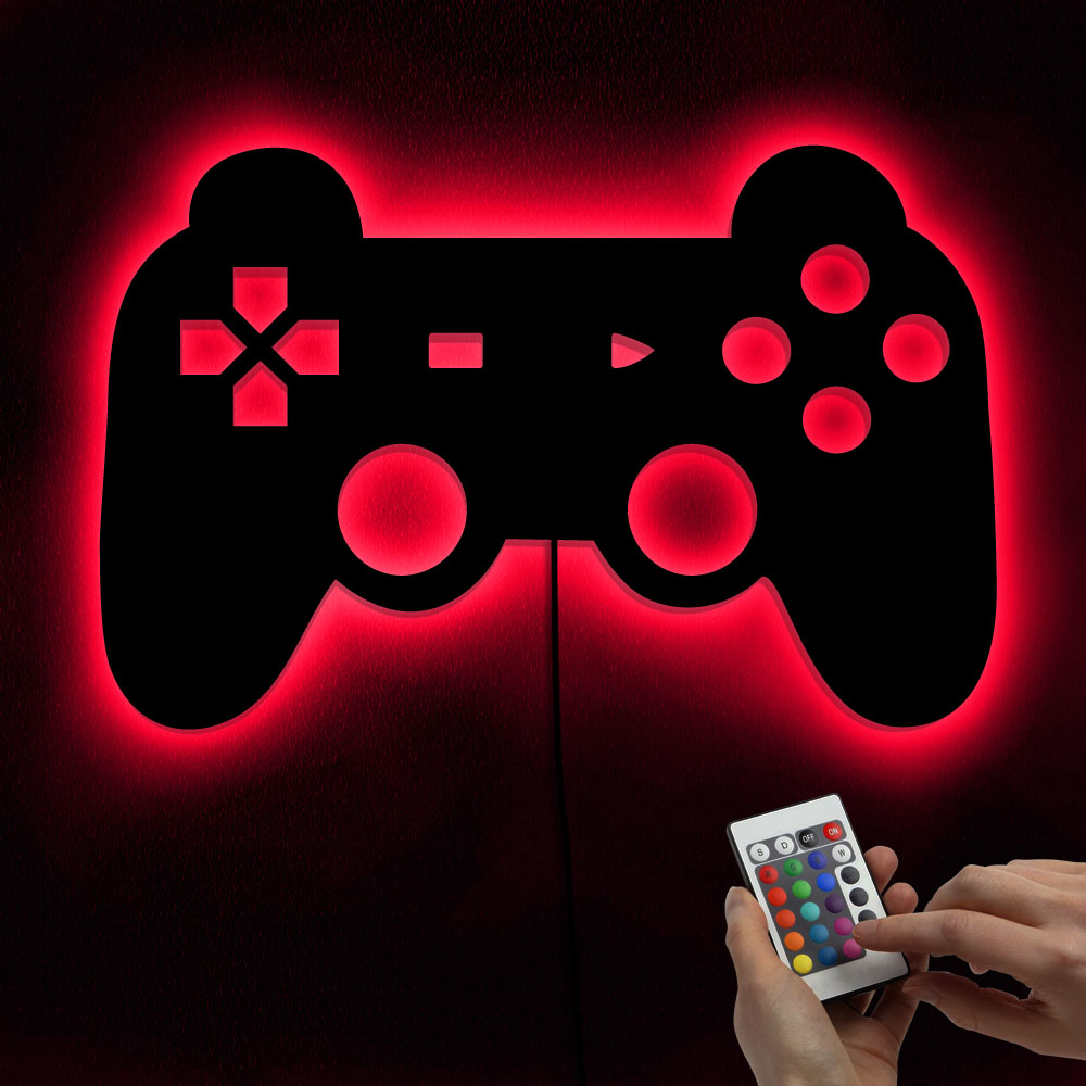 1Piece Gamepad Lighting Sign Retro Video Gamepad Silhouette Wall Art Illuminated LED Night Light Kid Room Game Boy Lighting Gift