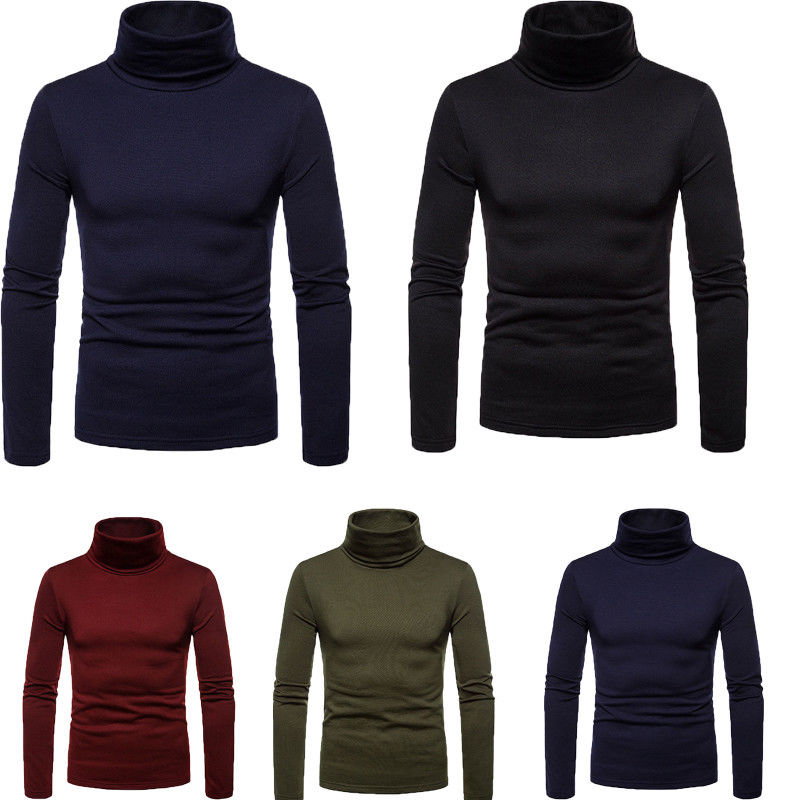 UK Fashion Mens Roll Turtle Neck Pullover Knitted Jumper Tops Sweater Shirt Winter Worm Basic Tops