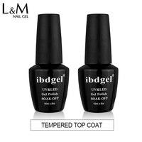 12 pcs ibdgel brand Gel Nails top Free Shipping Tempered Top Coat gel polish Art Soak Off Uv Polish brightness long lasting