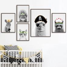 Llama Zebra Squirrel Cat Wall Art Canvas Painting Nordic Posters And Print Animal Wall Picture Kids Baby Room Scandinavian Decor худи print bar llama