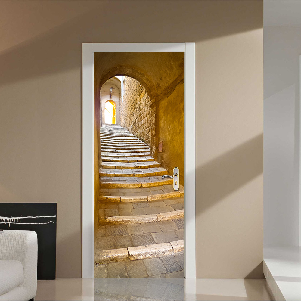 2 pcs set wall stickers diy mural bedroom home decor poster european stone staircase door. Black Bedroom Furniture Sets. Home Design Ideas
