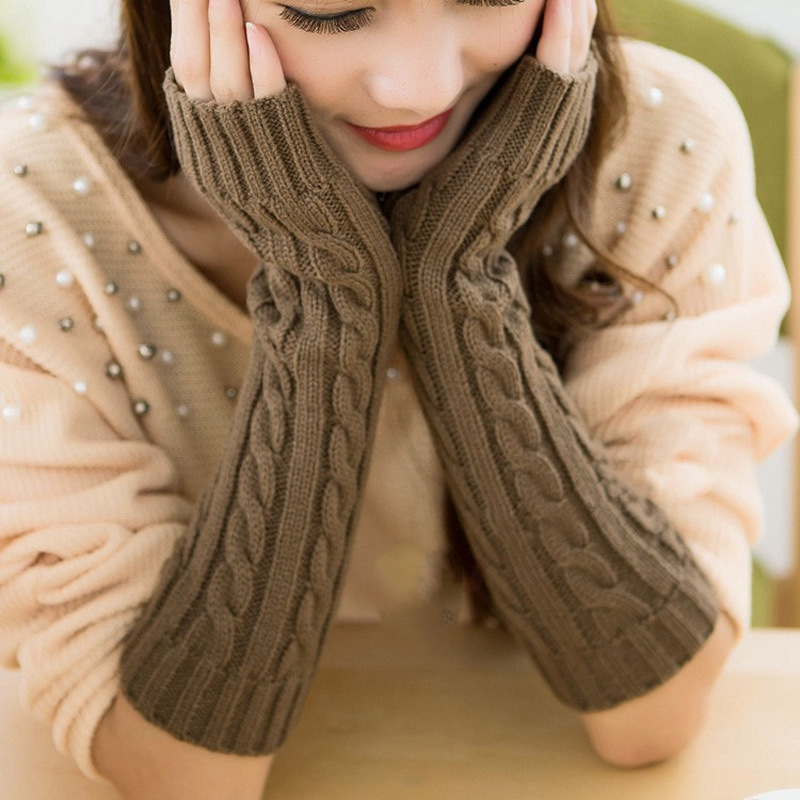 La MaxPa Spring Autumn Women Wool Arm Warmers Winter Fashion Fingerless Gloves Button Knitted Mitten Long Gloves Gloves K2130