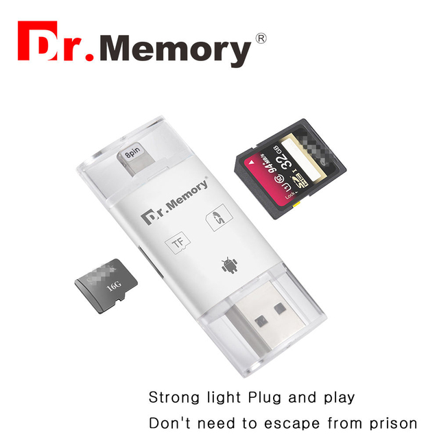 Dr Memory 3 In 1 Micro Sd Card Reader Lightning Usb 2 0 Tf For Iphone 6s 7 Plus Metal Android Otg