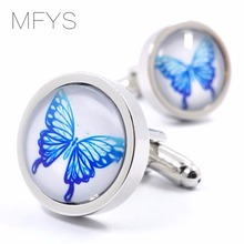 MFYS Blue Butterfly Cufflinks Handmade Round Cufflinks for Mens Cufflinks For Gift
