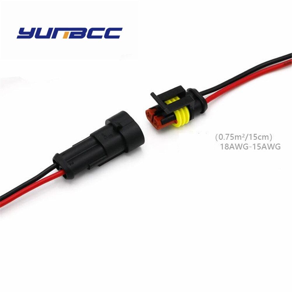 Conjunto 1 2Pin AMP Super selado fiação do conector do chicote de fios Automotivo Elétrico À Prova D' Água com cabos 282104-1 282080- 2