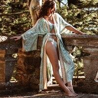 TEELYNN Boho robe Kaftan maisie Turquoise Floral print cardigan beach wear Kimono sleeve Side Slits loose summer women blouses