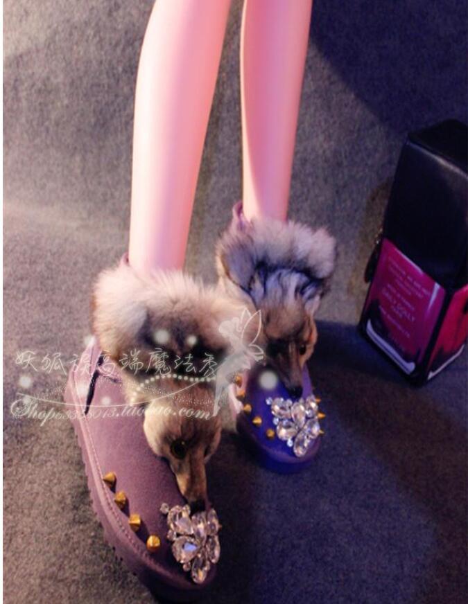 Nues Fourrure Neige Femmes Cuir En Chaussures Pourpre Spectacle Bottes Magie D'hiver De Liuding Punk qYawTxfn7