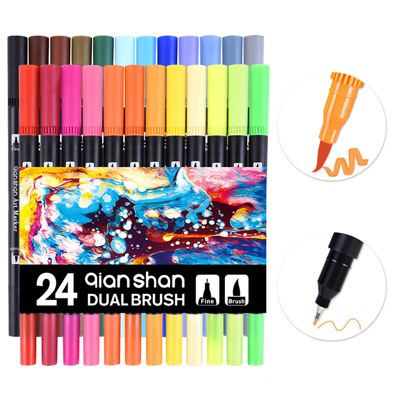 Dual Tip 24 Watercolor Brush Pen Markers Art Marker Set Water Soluble Double Color Marker Calligraphy Pen For Design Manga Comic