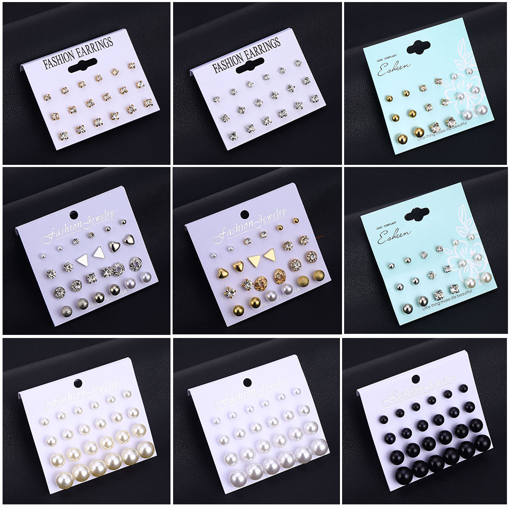 IPARAM Variety Simulation Pearl Crystal Stud Earrings Set Fashion Fashion Statement Geometric Female Earrings 2019 Jewelry Gifts